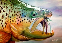 "Brown trout watercolor: ""On a Fin and a Prayer"". By Tim Hacker."