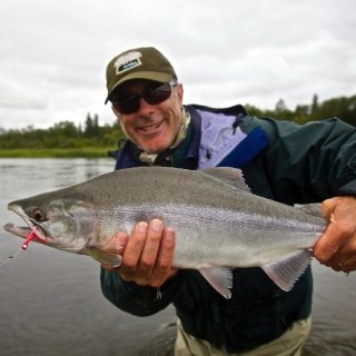 John and a nice Pink salmon on the fly.....one of many that fight just like a big trout!