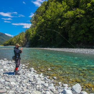 Happy angler in a stunning place.