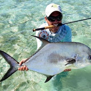 Jose with a nice permit on the flats east Grand Bahama Bahamas.