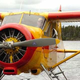 Jim (Owner of igloo Lake lodge) in his 1951 DeHavilland Beaver floatplane (mint condition).