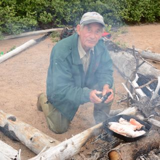 Igloo Lake fly-out allows one to catch an Arctic Char and cook it up on an open fire - Yum! Yum!