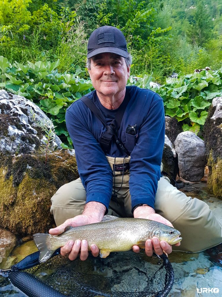 Peter managed to trick this beautiful marble trout on his last cast with size 18 palmer dry fly.