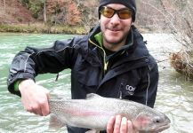 Rainbow Trout struck the lure while fishing for Euro Taimens