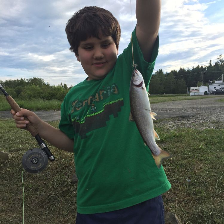 My little man having fun with a brookie