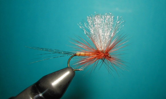 When I began to tie artificial flies, my role models were the classic ones. I tried to tie the best known and what seemed to me the most innovative, such as the Thorax by the great Vincent Marinaro. I tried fishing all the flies that I tied, so when I used the Thorax by Marinaro, I realized that the fibers of rooster hackle, wrapped cross to eight between the wings, did not maintain long-tilt due at the intersection of the hackle turns. After designing my parachute, I remembered the Thorax fly and thought that two strips of foam, opposite mounted on the hook, would force the coils of the rooster hackle to keep the angle at 45 ° hypothesized by Vincent Marinaro. The strips of foam, mounted on the hook,  have took the form of an X, which served to keep stable the angle of rooster coils.