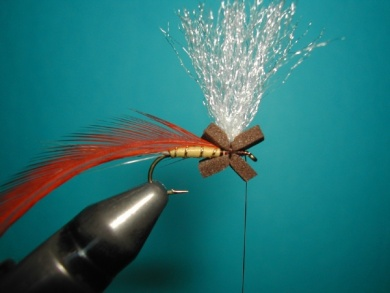 Fly tying - Hackle oriented forward to 45° - Step 4